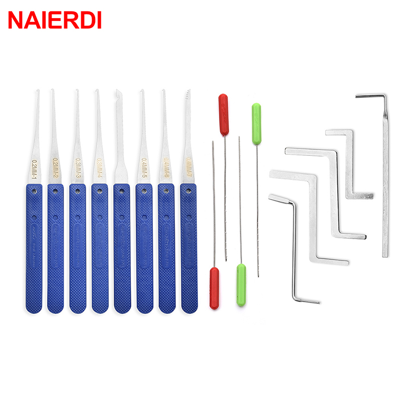 NAIERDI Locksmith Tools Broken Key Remove Auto Extractor Set Stainless Steel Wrench DIY Handle Removal Hooks Lock Kit Hardware