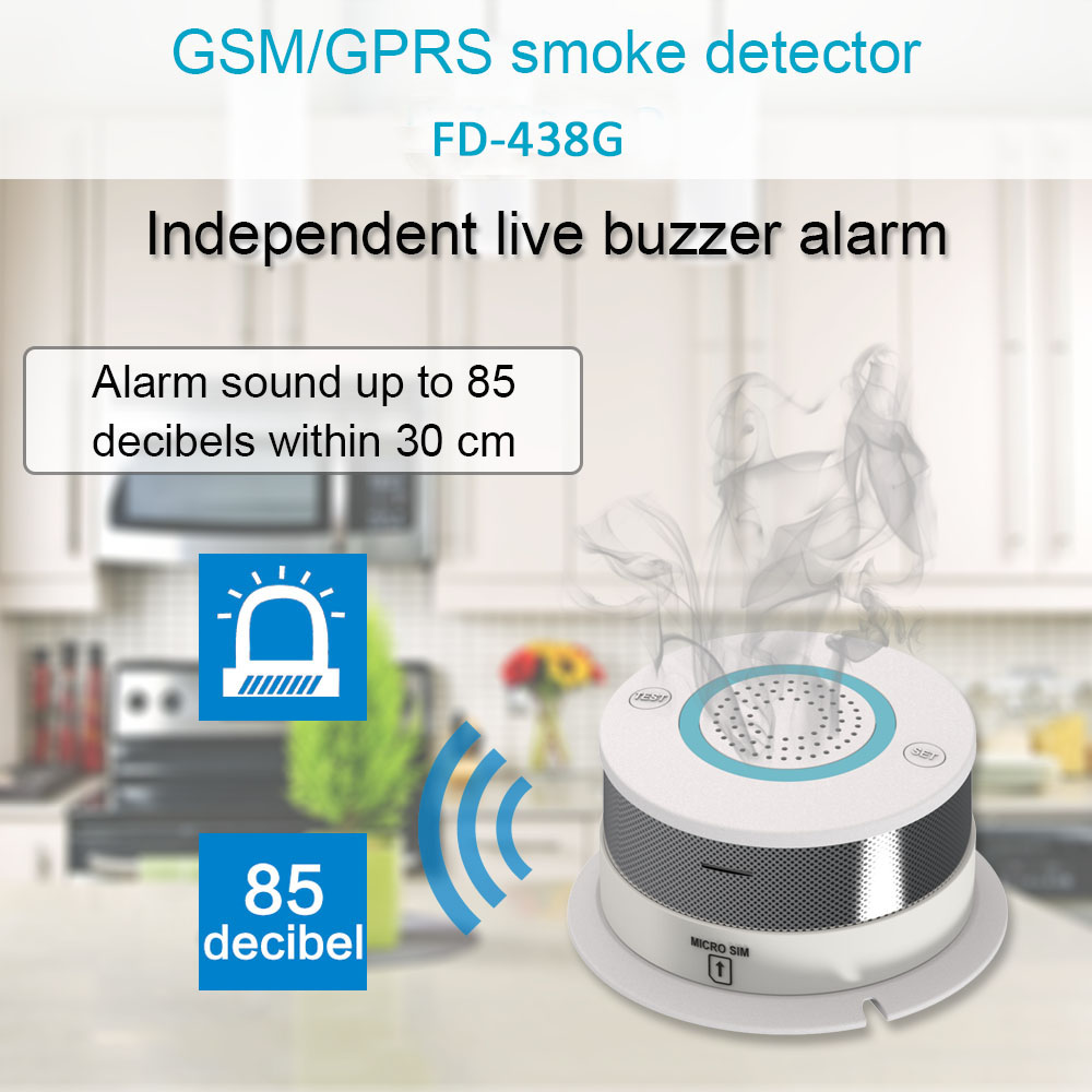 GSM GPRS SMS Wireless Smoke Detector Sensor Alarm Fire Alarm Sensor For Smart Home Kitchen House Security GSM Alarm System