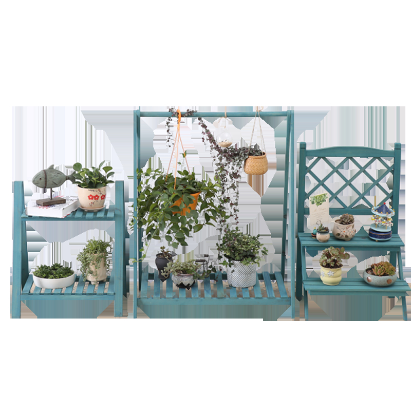 Two Multi-storey Flower Rack Chlorophytum Green Laojia Suspension Woodiness Solid Wood Flower Rack Grid Balcony A Living Room
