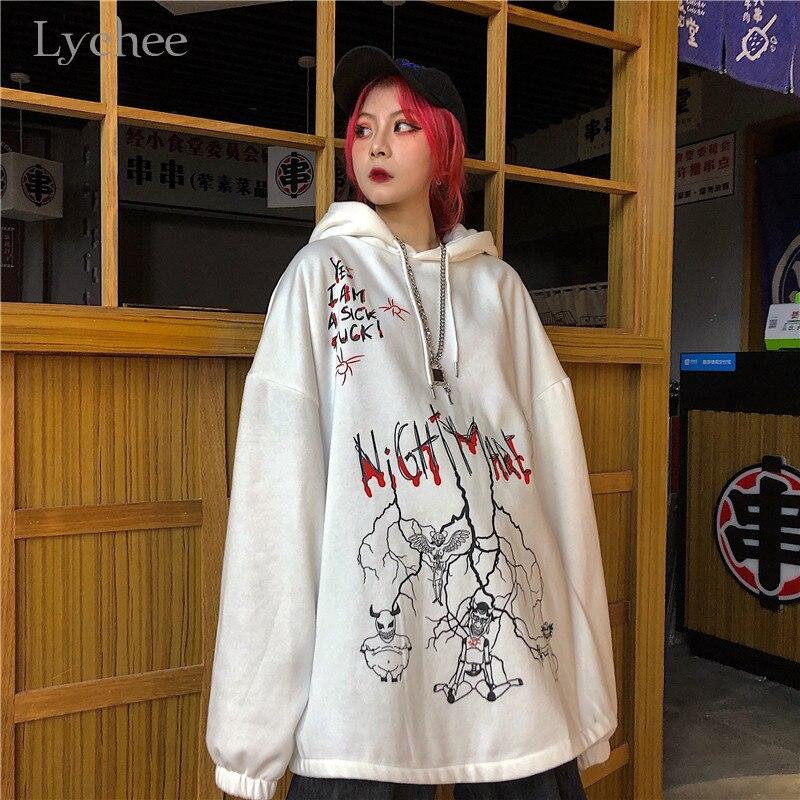 Lychee Harajuku Loose Casual Female Hoodies Pullovers Graffiti Devil Letter Women Hooded Sweatshirt Autumn Lady Sweatshirts Tops 3