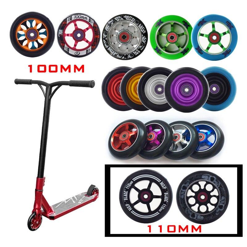 [100mm 110mm] roues de Scooter de rechange Push/Kick/Stunt avec roulements et bagues pièces de Scooter accessoires 2 pièces/ensemble