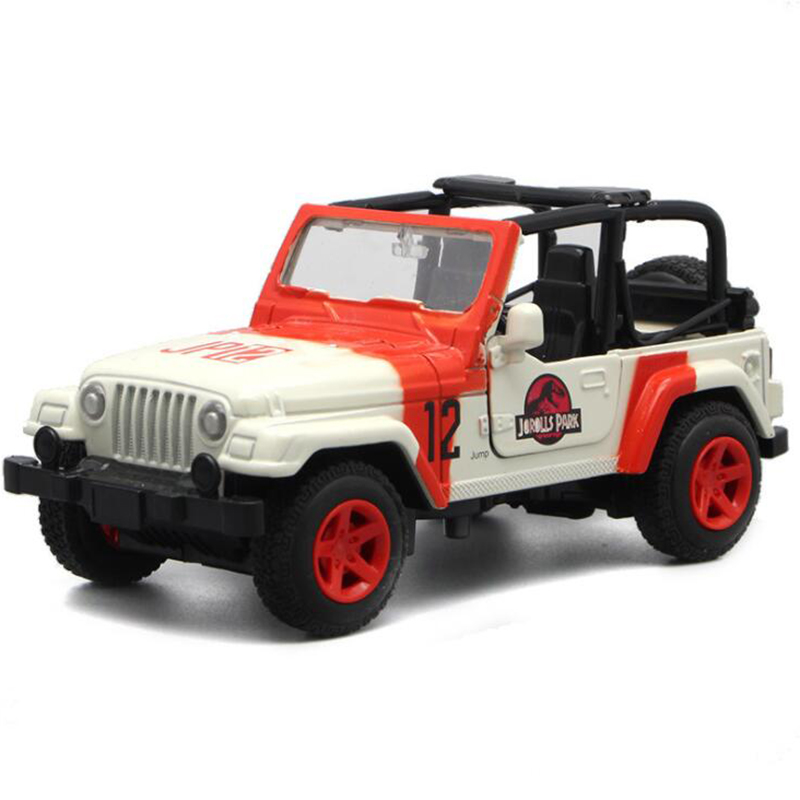 1/32 Scale 15.5CM Alloy Metal Diecast Jeep Wrangler Jurassic Park SUV Auto Car Model Toys For Children Kids Gifts Collection