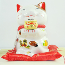 8/9/13.5 inch Lucky Cat Ceramics Home Decoration Porcelain Decoration Business Gifts Piggy Bank Opening Gift Feng Shui Crafts
