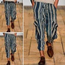 INCERUN British Style Chic Striped Men Harem Pants Fashion Trend Baggy Trousers Big Pockets Elastic Waist Mens Casual Pants 2020