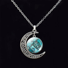 Sea Turtle Dolphin Seashells DIY Handmade Silver Hollow Crescent Moon Necklace Round Glass Cabochons Jewelry Women Pendant Gift(China)
