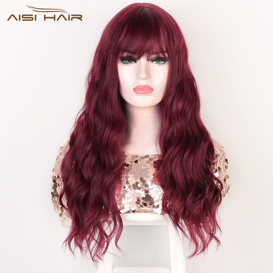 Peruca vermelha longa da onda da água das perucas sintéticas com franja para as mulheres cor-de-rosa marrom preto resistente ao calor do cabelo falso