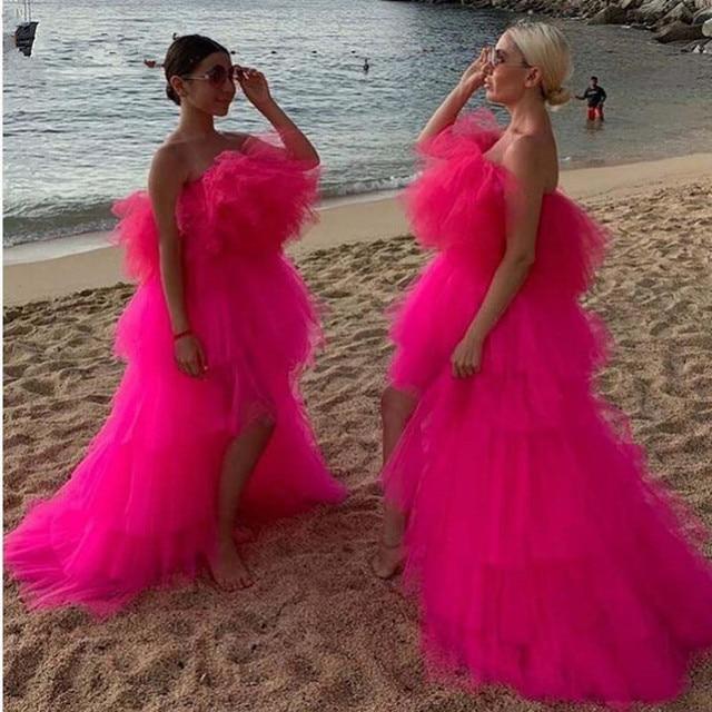 세련된 2020 핫 핑크 매우 푹신한 투투 댄스 파티 드레스 높은 낮은 프릴 계층화 된 긴 파티 드레스 아프리카 파티 드레스