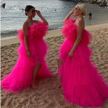 Chic 2020 Hot Pink Very Puffy Tutu Prom Dresses High Low Ruffles Tiered Long Prom Gowns African Party Dresses