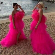 Chique 2020 rosa quente muito inchado tutu vestidos de baile alta baixa babados em camadas longos vestidos de baile africano vestidos de festa