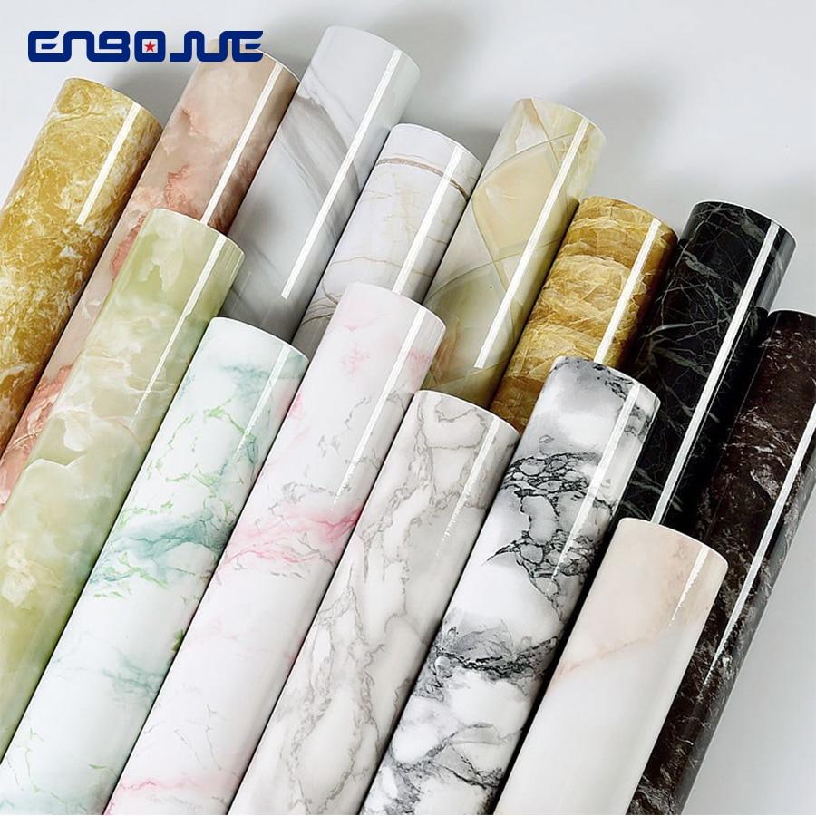 PVC Selbst Klebe Tapete Marmor Aufkleber Wasserdichte Wärme Resistant Küche Arbeitsplatten Tisch Möbel Schrank Wand Papier Tapeten Heimwerkerbedarf -