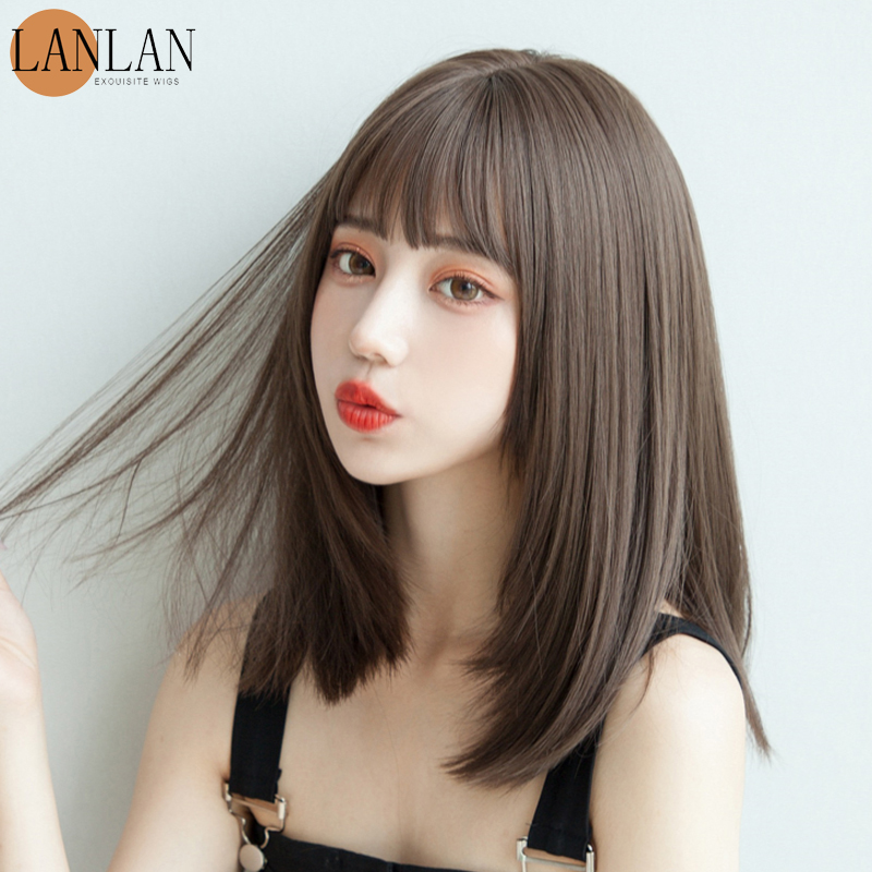 Парик LANLAN из синтетического волокна Женский bobo длинные волосы темпераментная внутренняя Пряжка корейский женский парик до ключиц