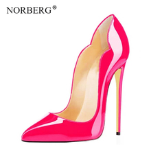 NORBERG new ladies high heel womens shoes leopard tip woman sexy party office wedding size 34-45