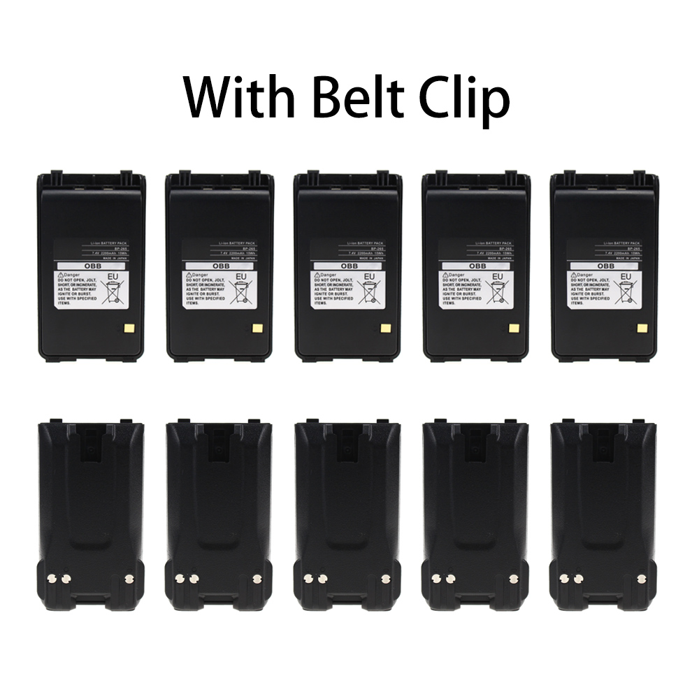 10 Pcs 2200mAh BP-265 Li-Ion Battery Extended Replacement For ICOM IC-T70A IC-T70E IC-V80 IC-V80E Two Way Radio