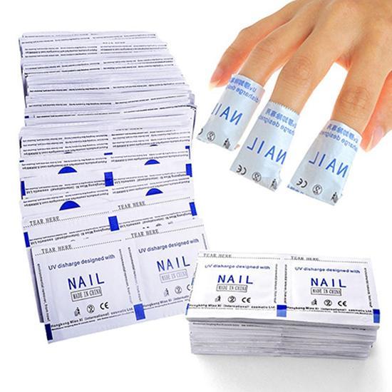 100 Pcs UV Soak Off Gel Polish Remover Pads Quick Gel Polish Remover Bags Pads Foil Makeup Nail Art Cleaner Nail Art Tools 2020