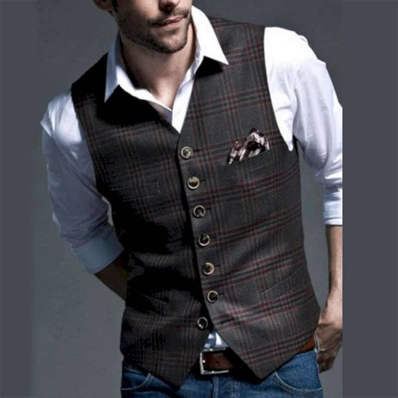Brytyjski styl mężczyzna garnitur kamizelka dorywczo biznes bez rękawów kamizelka na wesele Groomsmen panowie Plaid klasyczny garnitur kamizelki