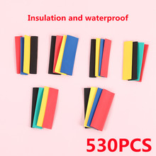 530 Pcs Heat Shrink Sleeving Tube Tube Assortment Kit Electrical Connection Electrical Wire Wrap Cable Waterproof Shrinkage 2:1