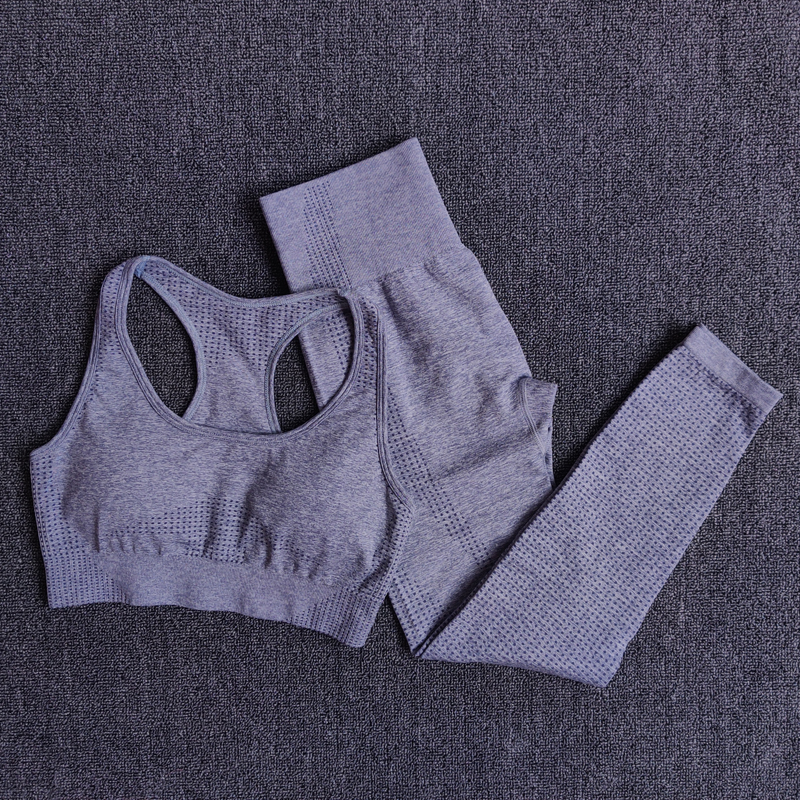 BraPantsGray - Women Seamless Yoga Set Fitness Sports Suits
