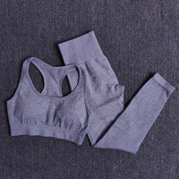BraPantsGray - Women Seamless Yoga Set Fitness Sports Suits