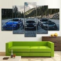 Lienzo sin marco para decoración del hogar, carteles artísticos de pared de coche, JDM, Supra, Nissan Skyline NSX, accesorios para sala de estar, 5 uds.