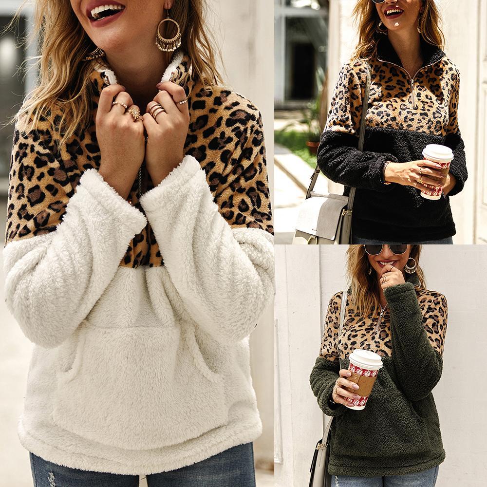 Sweater Coats Long-Sleeve Korean-Style Autumn Winter Womens New Leopard Cotton Stitching-Top