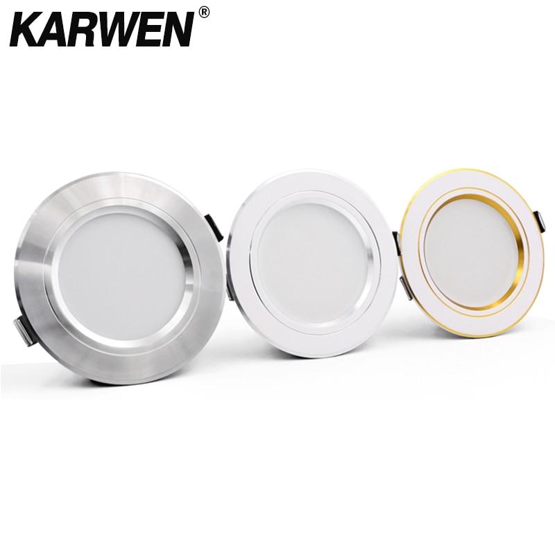 KARWEN LED Downlight Gold/Silver/White Body 5W 9W 12W 15W 18W Led Ceiling Light AC 220V 230V 240V For Indoor LED Spotlight