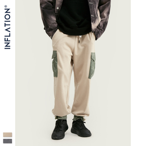 Image 2 - Мужские спортивные штаны с карманами INFLATION, серые свободные штаны прямого покроя в уличном стиле, 93440 вт, модель 2020 года