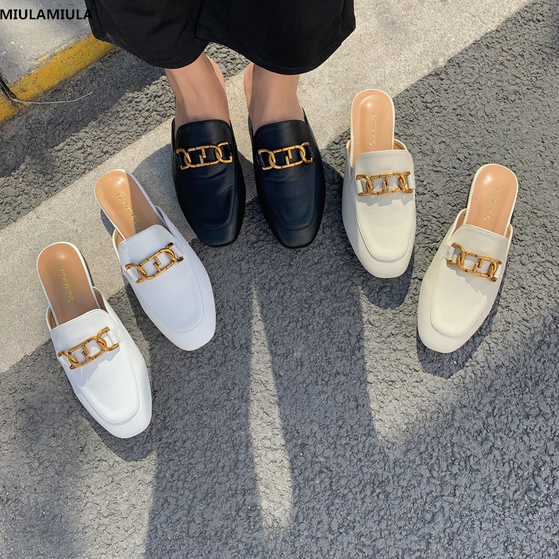 MIULAMIULA Brand Designer 2020 Spring New Fashion Luxury Gold Metal Chain Flat Leather Slippers Slip On Loafers Mules Flip Flops