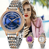 SUNKTA Gold Blue Watch Women Watches Ladies Creative Steel Women's Bracelet Watches Female Clock Relogio Feminino Montre Femme