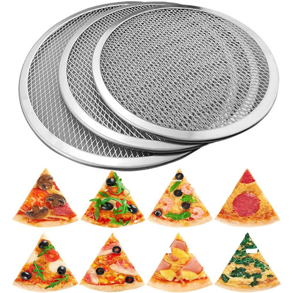 6-22inch Reuse Non-Stick Aluminum Mesh Pizza Screen Pasta Baking Tray Metal Net Bakeware Kitchen Baking Tools