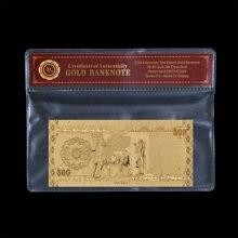 Venta al por mayor de dinero falso de Irak 500 Dinar billete chapado en oro con marco Prop dinero Banco nota colección regalo Dropshiping