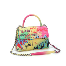 luxury bags for women 2019, New colorful graffiti diamond lattice bag for women with one shoulder, cross-body bag chain handbag mini circular genuine leather handbag vintage diamond lattice one shoulder cross body bag small round package women tassel bags