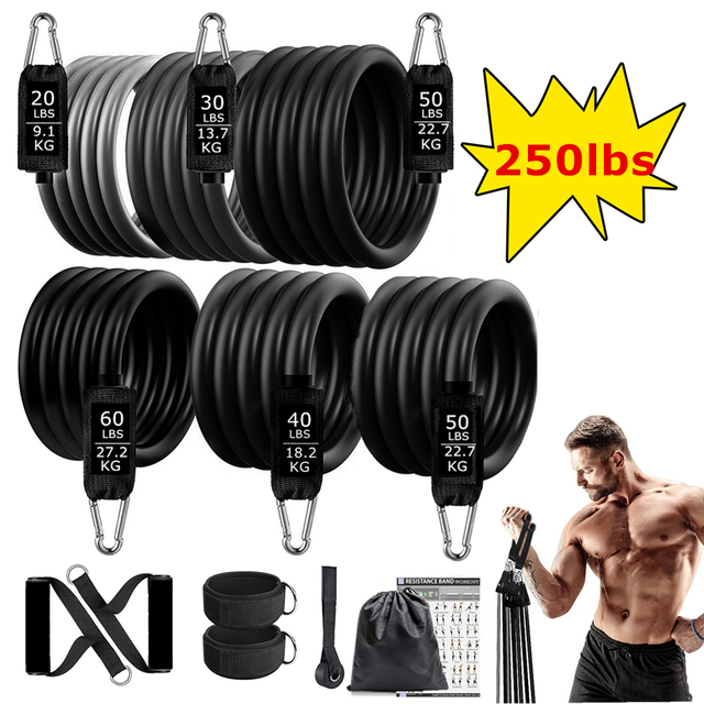 250lbs Resistance Bands Set Fitness Workout Gym Pull Rope Yoga Latex Tube Sports Elastic Booty Bands Exercise Equipment for Home 1
