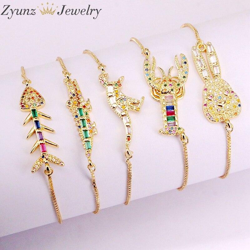 10PCS, Fashion Jewelry Colorful CZ Rainbow Bracelets Slide Chain Crystal Zirconia Animal Shaped Adjustable Bracelets