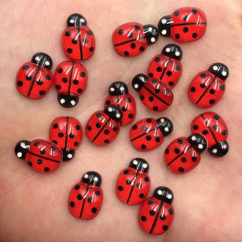 60pcs Resin Cute Colorful Beautiful Red Beetle Flat Back Rhinestone Appliques DIY Wedding Scrapbook Craft F747