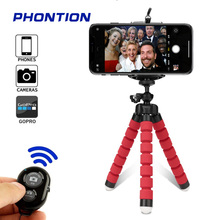 Mini Flexible Sponge Octopus Tripod for Phone Camera Selfie Remote Stick with Bluetooth Remote for  iphone tripod Camera Holder alloyseed mini flexible sponge octopus tripod portable phone camera holder bracket for gopro camera dslr mount