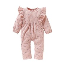 Newborn Girl Romper Long Sleeve Autumn Winter Floral Baby Romper For Girl Cute Pink Ruffle Infant Girl Body Jumpsuit(China)