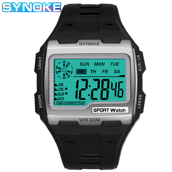 SYNOKE Square Digital Watches Men LED Waterproof Anti-Shock Men's Sports Watch Casual Large Dial Electronic Clock Relojes Hombre