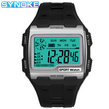 SYNOKE Quadrat Digitale Uhren Männer LED Wasserdichte Anti-Schock männer Sport Uhr Casual Große Zifferblatt Elektronische Uhr Uhren hombre