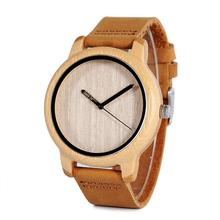 BOBO BIRD reloj de madera para hombre, A22, bambú, reloj de pulsera de cuarzo Simple, de cuero, 20mm, para hombre