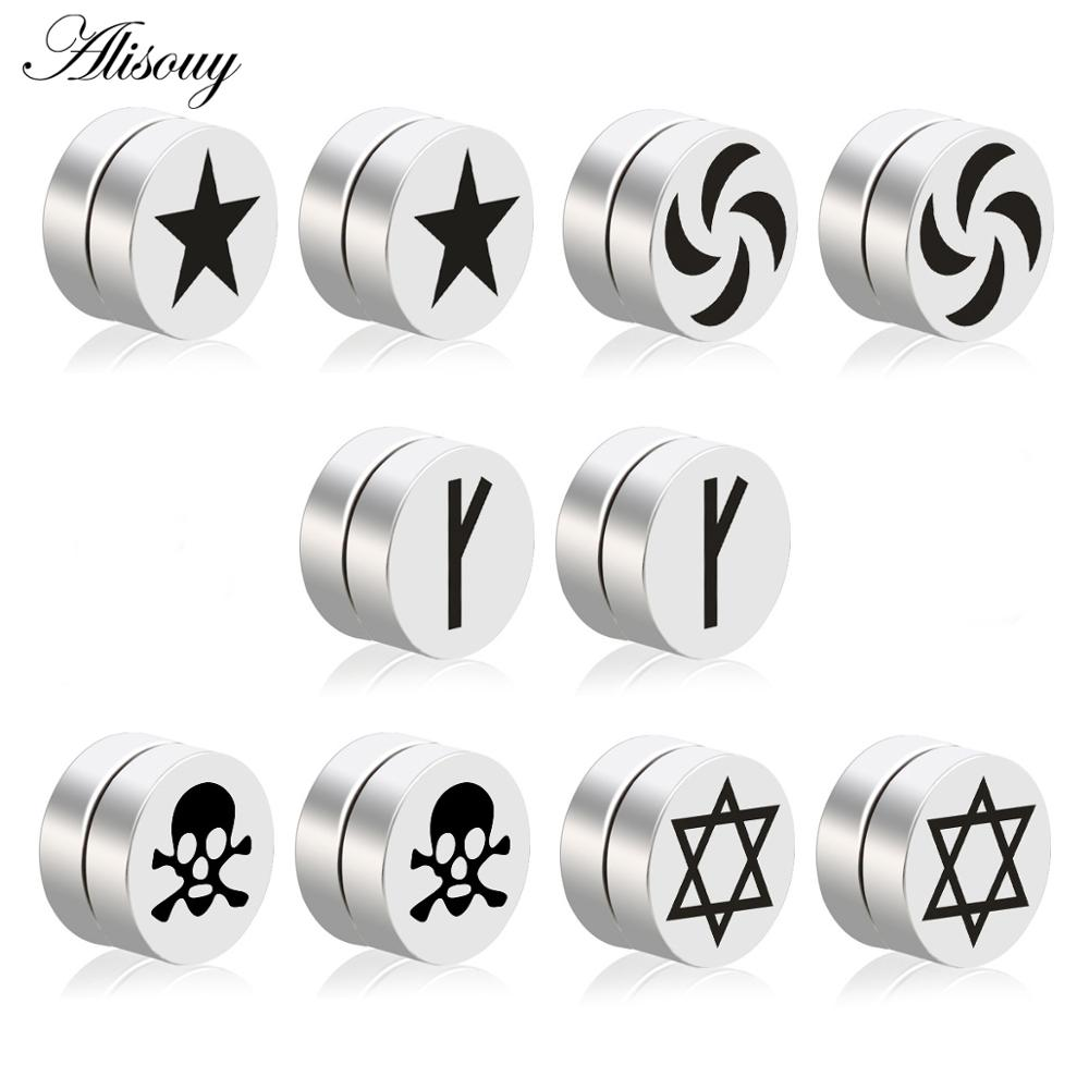 Alisouy 2pcs Mens Earring Set Stainless Steel Circle Magnetic Clip Stud Earrings Magnet Fake Plugs No Piercing Women Jewelry