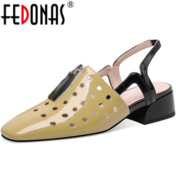 FEDONAS 2020 Newest Famale Square Toe Women Shoes Basic Thick Heels Pumps Zipper Spring Summer Patent Leather Retro Shoes Woman