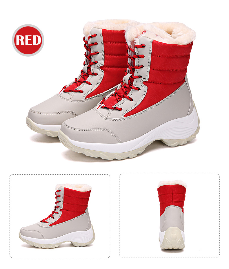 2019 Women Snow boots Waterproof Non-slip Parent-Child Winter Boots Thick Fur Platform Waterproof and Warm Shoes Plus Size 31-42 55