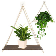 Twine Wooden Wall Shelf Flower Pot Rack Hanging Rope Rack Flower Pot Storage Rack Home Wall Hanging(China)