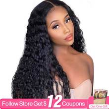 Deep Wave Human Hair HD T Part Lace Closure Wigs For Black Women AIRCABIN Brazilian Natural Color Glueless Wigs 130% Density