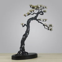 Entrance Decoration Wrought Iron Metal Sculpture Sales Office Hotel Lobby Club Hall Decoration Ornaments Lucky Pine