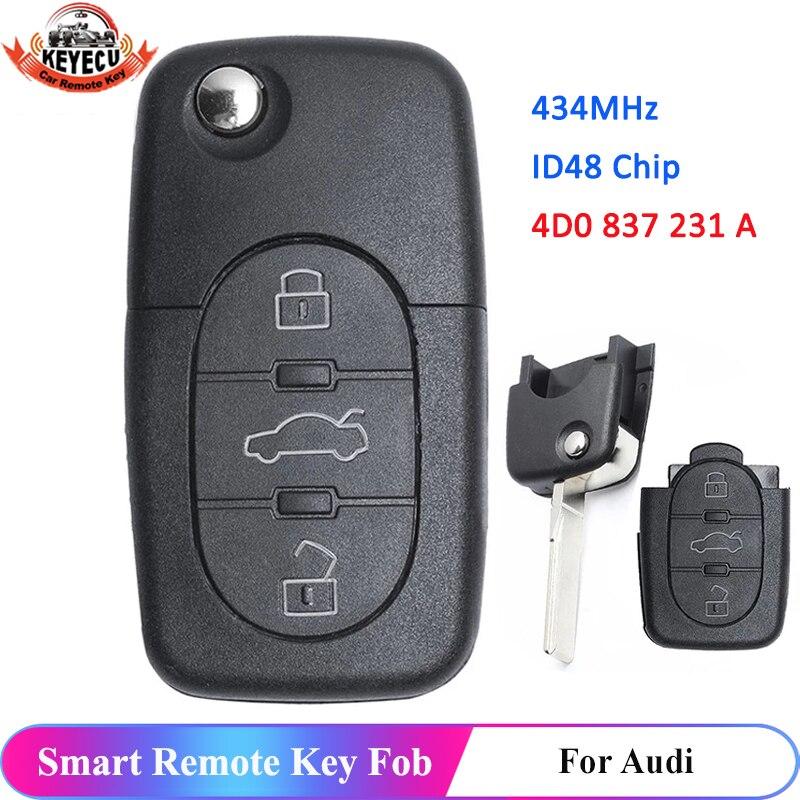 KEYECU 433MHz 3 Button 4D0837231A 4D0 837 231 A Flip Fold ID48 Chip Car Remote Key for AUDI A3 A4 A6 A8 Old Models 1999-2002