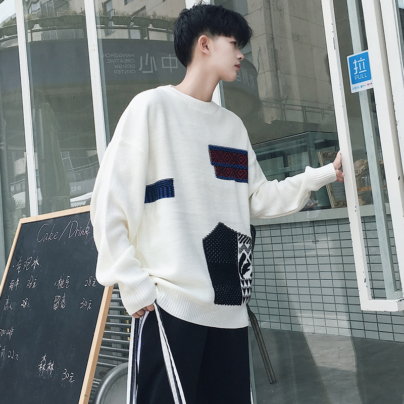 Autumn New Sweater Men Fashion Embroidery Contrast Color Casual O-neck Sweater Pullover Man Streetwear Wild Loose Warm Sweater
