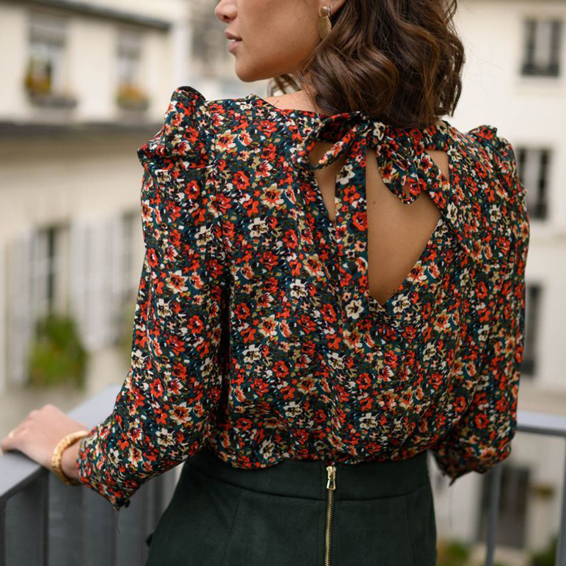 Elegant Floral Print Women Blouse Shirt Long Sleeve Tops Blouse Casual Ladies Top Shirt Lace Up Backless Sexy Femme Blusas Mujer