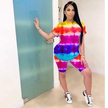 2021 Fashion Women Tie Dye Crop Top+Short Suits Ladies Summer Sport Yoga Two Piece Causal Sportswear Fitness Outfits Sets(China)