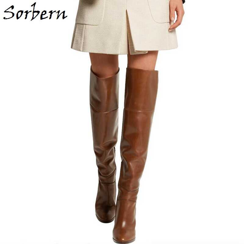 Sorbern marron Botines Mujer 2019 grande taille talons carrés cuissardes sur genou bottes hautes Zapatos Mujer